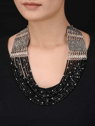 Black Beaded Silver Necklace