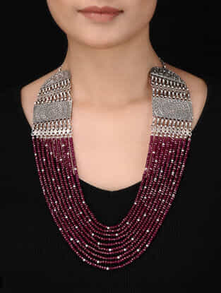 Ruby Beaded Silver Necklace