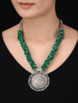 Green Beaded Tribal Silver Necklace