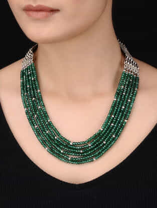 Green Beaded Silver