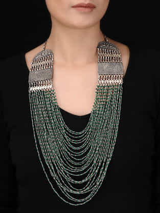 Green Tribal Silver Necklace