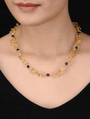 Citrine and Garnet Beaded Silver Necklace