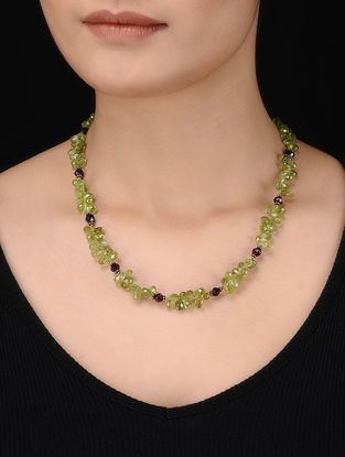 Peridot and Garnet Beaded Silver Necklace