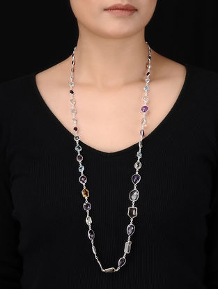 Multicolored Beaded Silver Necklace