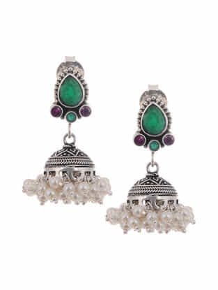 Green-Purple Silver Jhumkis