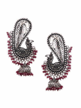 Pink Silver Jhumkis with Peacock Design