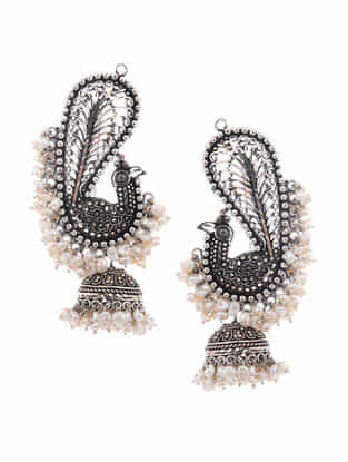 Pearl Silver Jhumkis with Peacock Design