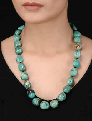 Turquoise Beaded Silver Necklace