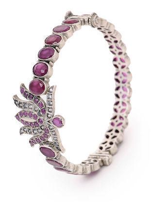 Purple Hinged Opening Tribal Silver Bangle (Bangle Size -2/10)