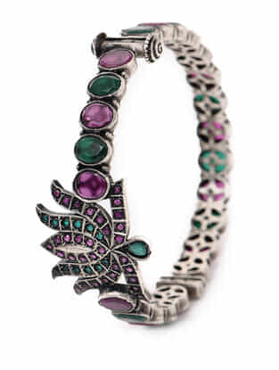 Green-Purple Hinged Opening Tribal Silver Bangle (Bangle Size -2/6)