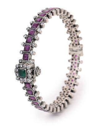 Purple-Green Hinged Opening Tribal Silver Bangle (Bangle Size -2/8)