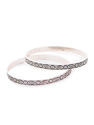 Tribal Silver Bangles with Floral Motif (Bangle Size -2/12) (Set of 2)