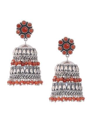 Orange Tribal Silver Jhumkis