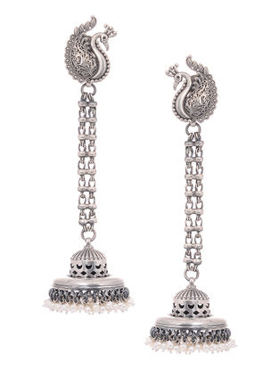 Tribal Silver Jhumkis with Peacock Design with Pearls
