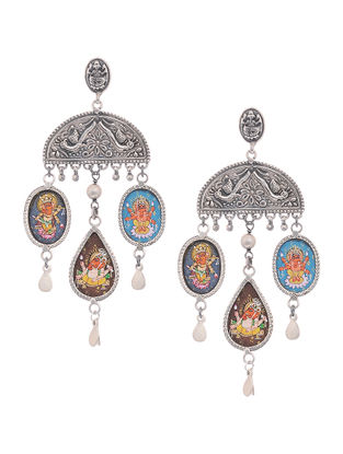 Tribal Silver Earrings with Hand-Painted Deity Motif