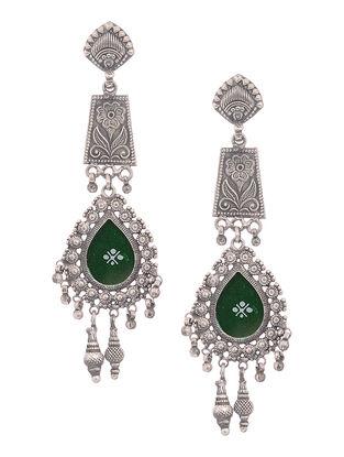 Green Glass Tribal Silver Jhumkis