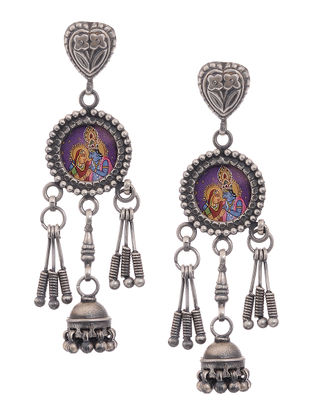 Tribal Silver Jhumkis with Hand-Painted Deity Motif