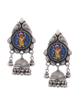 Tribal Silver Jhumkis with Hand -Painted Lord Ganesha Motif