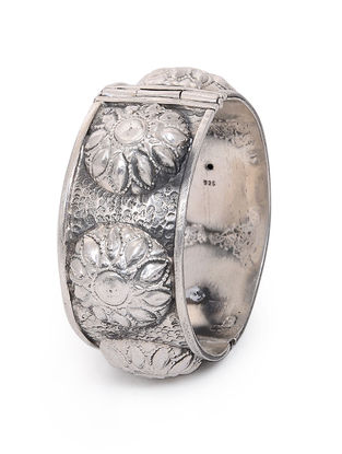 Hinged Opening Tribal Silver Bangle with Floral Motif (Bangle Size - 2/2)