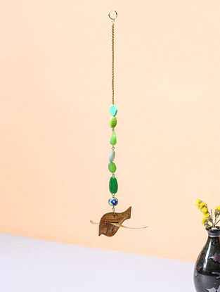 Green Brass and Glass Beaded Wind Chime with Bird Design (3.5in x 4.5in)