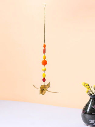 Orange Brass and Glass Beaded Wind Chime with Bird Design (3.5in x 4.5in)