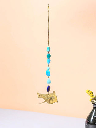 Blue Brass and Glass Beaded Wind Chime with Bird Design (3.5in x 4.5in)