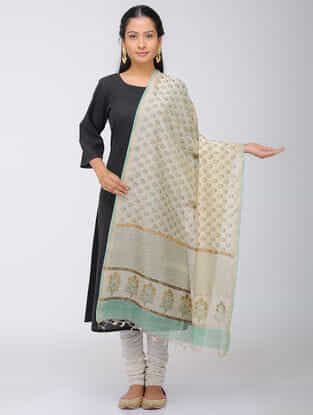 Ivory- Sea Green Block-printed Chanderi Dupatta with Zari Border
