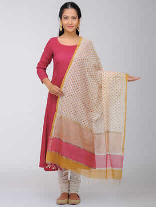 Ivory-Orange Block-printed Chanderi Dupatta with Zari Border