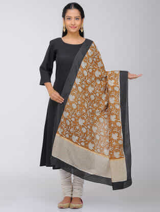Ivory-Brown Block-printed Silk Modal Dupatta