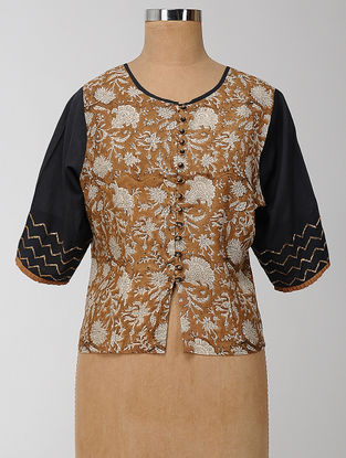 Brown-Black Block-printed and Embroidered Silk-Cotton Semi-stitched Blouse