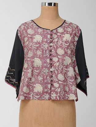 Pink-Black Block-printed and Embroidered Silk-Cotton Semi-stitched Blouse