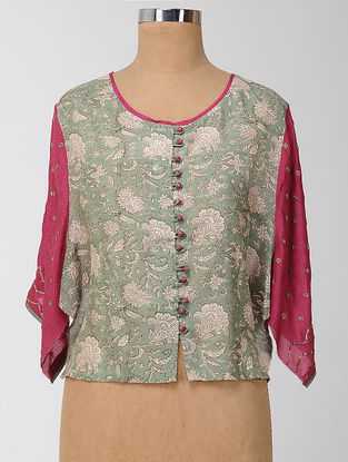 Green-Pink Block-printed and Embroidered Silk Modal Semi-stitched Blouse