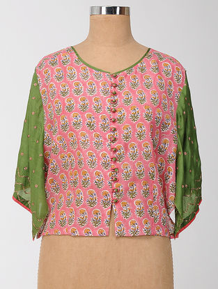 Pink-Green Block-printed and Embroidered Silk-Cotton Semi-stitched Blouse