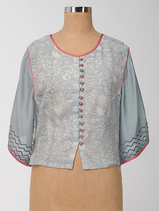 Grey-Pink Block-printed and Embroidered Silk Modal Semi-stitched Blouse
