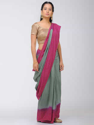 Green-Pink Dip Dyed Silk Modal Saree with Mukaish and Tassels