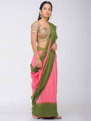 Pink-Green Dip Dyed Silk Modal Saree with Mukaish and Tassels