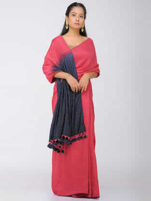 Pink-Blue Dip Dyed Silk Modal Saree with Mukaish and Tassels