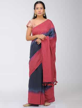 Blue-Pink Dip Dyed Silk Modal Saree with Mukaish and Tassels