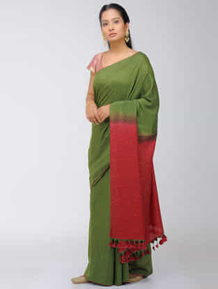 Green-Red Dip Dyed Silk Modal Saree with Mukaish and Tassels