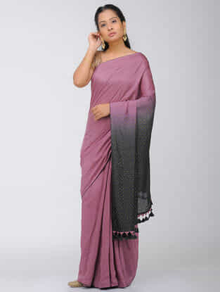 Pink-Black Dip Dyed Silk Modal Saree with Mukaish and Tassels