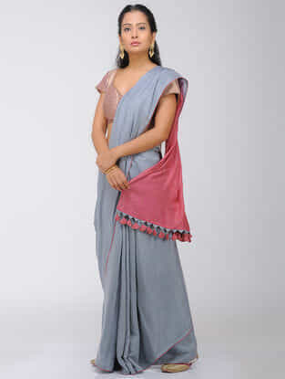 Grey-Pink Dip Dyed Silk Modal Saree with Mukaish and Tassels