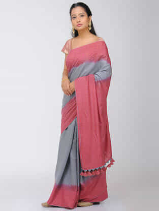 Pink-Grey Dip Dyed Silk Modal Saree with Mukaish and Tassels