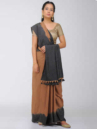 Brown-Black Dip Dyed Silk Modal Saree with Mukaish and Tassels