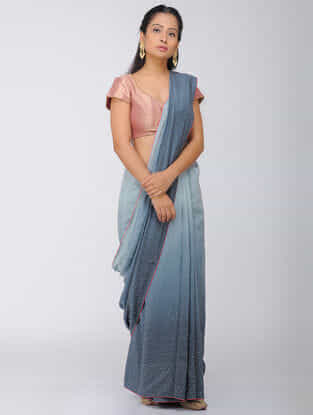 Grey Ombre Silk Modal Saree with Mukaish and Tassels