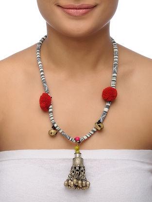 White-Black Necklace with Pom Poms