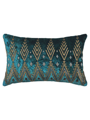 Malka Teal Adda-embroidered Viscose Velvet Cushion Cover