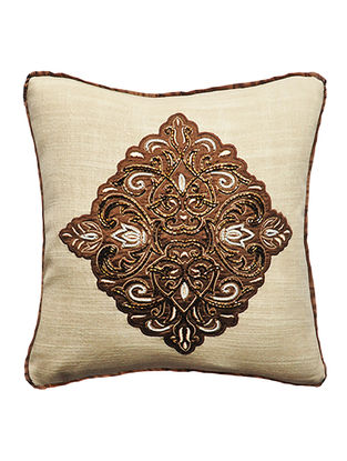 Imperial Beige-Brown Embroidered Dupion Silk Cushion Cover (12in x 12in)