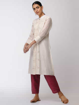 Ivory Hand-embroidered Chanderi Kurta