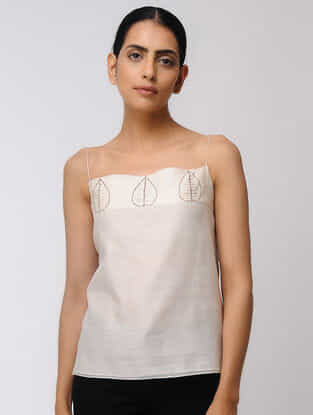 Ivory Hand-embroidered Chanderi Top