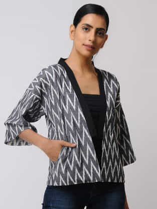 Grey-White Hand-woven Cotton Ikat Reversible Jacket
